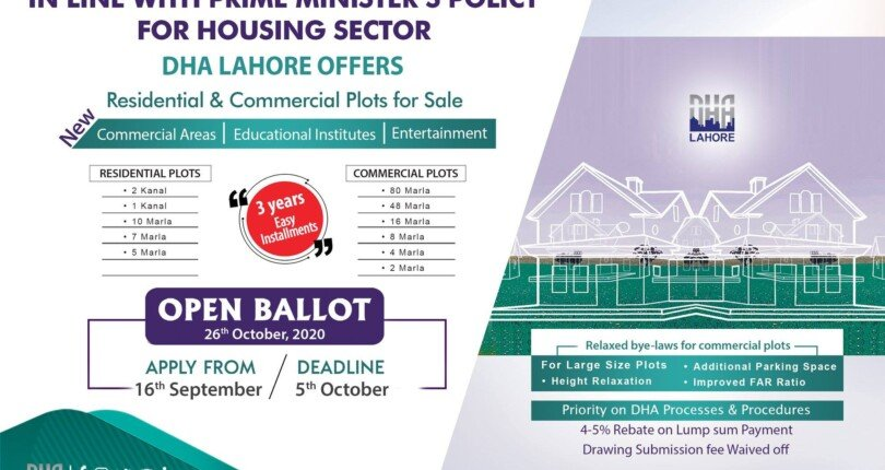DHA Lahore Location Booking/Balloting DHA Lahore Residential & Commercial 5 Marla  to 2 kanal with 3 year Easy installment 2020