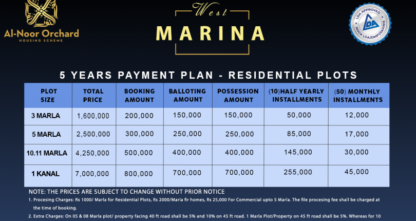 Alnoor Orchard ( west Marina) 5 year payment plane 3 Marla 5 Marla 10 Marla 1 kanal plot file booking start